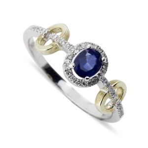 Blue Sapphire and Diamond Links ring