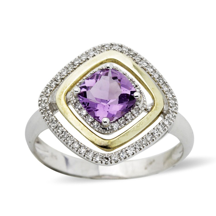 9K Gold Amethyst And Diamond Ring
