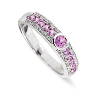 9K White Gold Pink Sapphire Diamond Ring