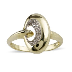 Gold and Diamond oval dress ring