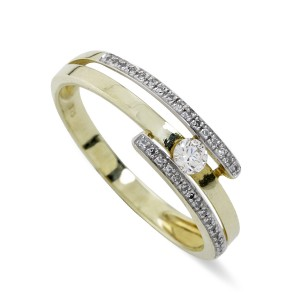 Diamond and Gold Double band ring