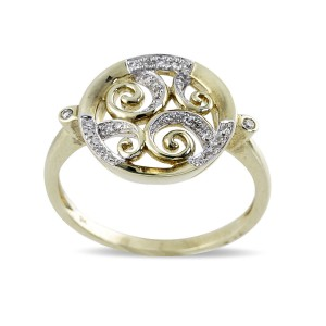 9K Yellow Gold Diamond Dress Ring