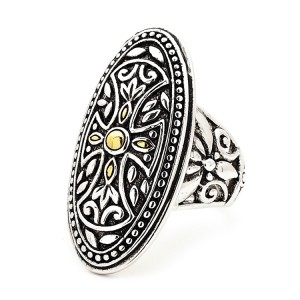 Silver Oxidised Gothic Shield Ring