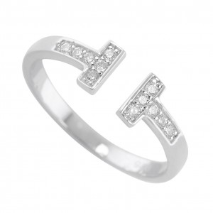 Silver Cubic Zirconia T-bar Ring