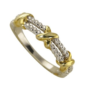 Silver Kisses Ring With Yellow Gold Plate