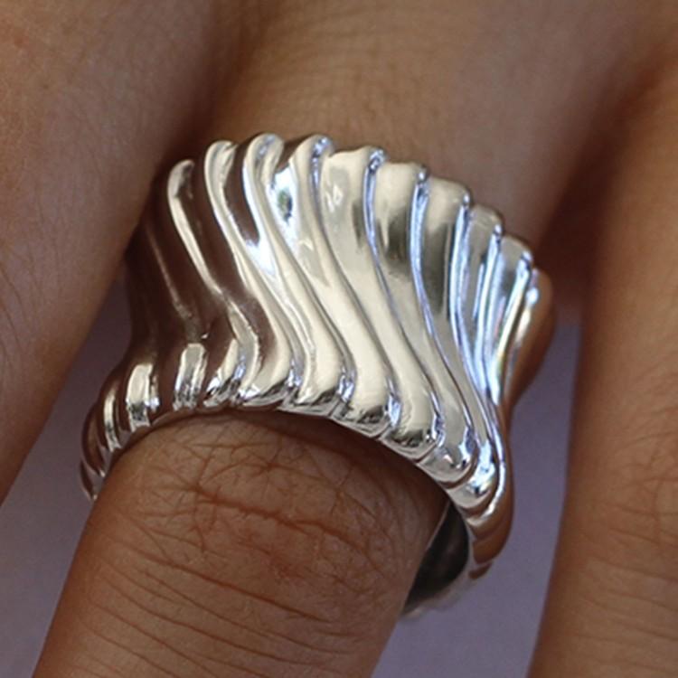 Italian Sterling  Silver Ridged Ring