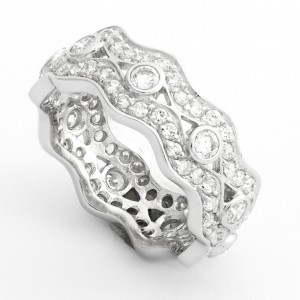 Silver Elaborate Multi Cz Dress Ring