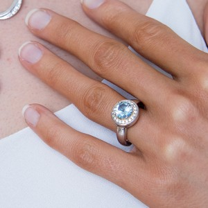 Sterling Silver Blue Topaz Cz Dress Ring