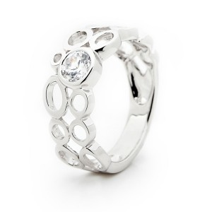 Modern Silver Ring With Bezel Set Cubic