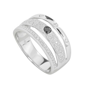 Silver 3 Band Pave Set Dress Ring