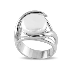 Modern Silver Coin Pearl Dress Ring
