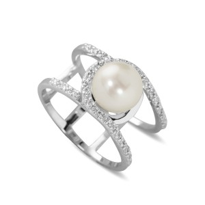 Silver Double Band Pearl And Cz Ring