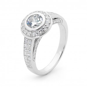 Silver Solitaire Statement Ring