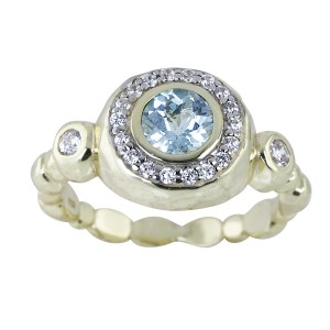 Silver Yellow Gold Plate Blue Topaz Cocktail Ring