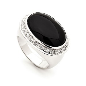 Silver Natural Onyx Zirconia Surround Ring