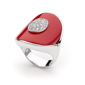 Silver And Red Enamel Pave Cocktail Ring
