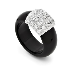 Natural Onyx Shank Ring With Silver And Cubic's