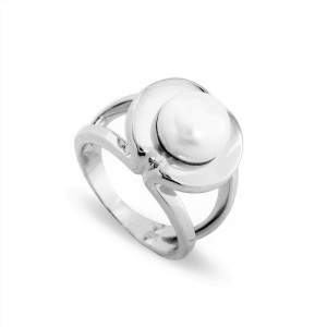 Sterling Silver Natural Button Pearl Ring