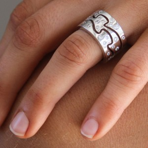 Silver And Cz Wave Ring