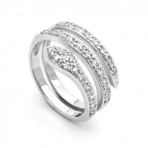 Sterling Silver Snake Wrap Ring With Cubic Zirconia
