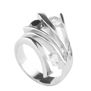 Contemporary Silver Floating Stones Ring