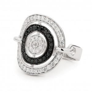 Silver Black Rhinestone And Cubic's Multi Circle Ring