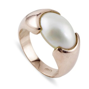 Rose Gold South Sea Oval Mabe Pearl Ring