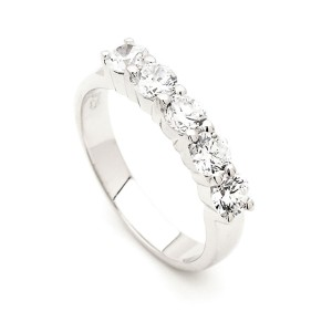 Silver Cubic Zirconia Anniversary Ring