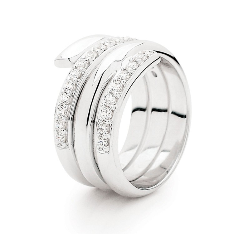 Silver And Cubic Zirconia Wrap Ring