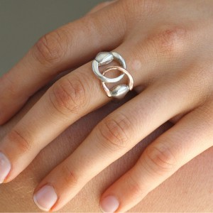 Silver And 9K Rose Gold Horse Bridle Ring