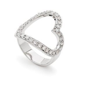 Sterling Silver Open Band Heart Ring