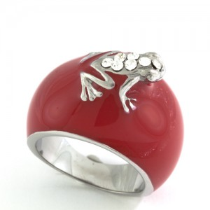 Stainless Steel Red Enamel Frog Ring